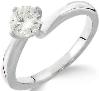 Love Diamond 9ctWhite Gold 1ct Diamond Solitaire Twisted Ring