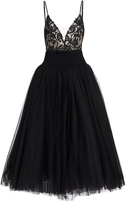 Monique Lhuillier Lace Bodice Tulle Cocktail Dress