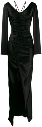 David Koma Ruched Fitted Maxi Dress