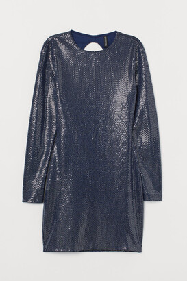 H&M Shimmery Fitted Dress - Blue