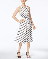 Jessica Howard Petite Bow-Back Striped Fit and Flare Dress