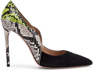 Aquazzura Suave 105 Pump in Black, Shiny Roccia & Acid Green | FWRD
