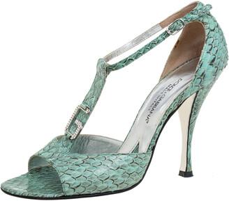 Dolce & Gabbana Green Python Logo Embellished T Strap Sandals Size 36.5