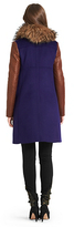 Diane von Furstenberg Fur Trim Bell Quilted Leather Coat In Blue Iris/ Fawn