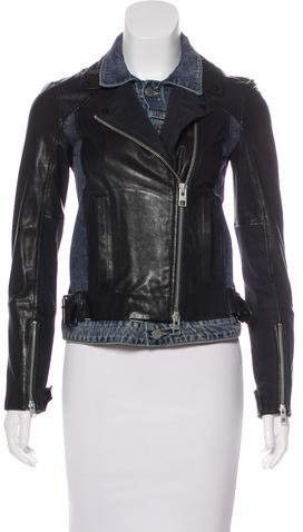 AllSaints Leather Denim Jacket