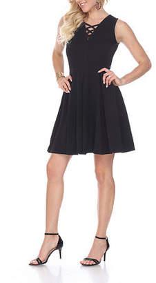 White Mark Shay Sleeveless Fit & Flare Dress