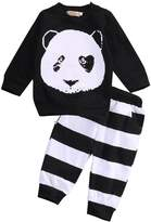 Zoe's wardrobe Baby Boys Cartoon Panda Long-Sleeved T-Shirt+ Striped Pants Kids Clothes Set (12-18 Months)