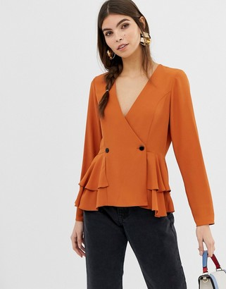 Asos DESIGN long sleeve tux top with button detail