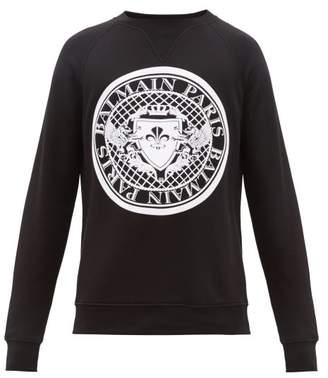 Balmain Flocked Logo Crest Cotton Jersey Sweatshirt - Mens - Black White
