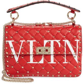 Valentino Medium Spike.It VLTN Logo Leather Shoulder Bag