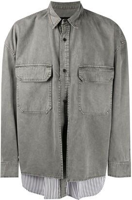 Juun.J Layered Effect Striped Shirt Jacket