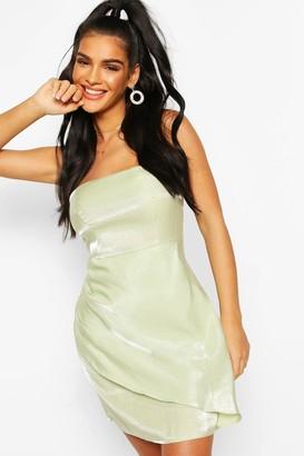 boohoo Satin Bandeau Wrap Skirt Mini Dress