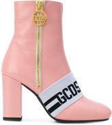 Gcds faux fur lined logo strap ankle boots