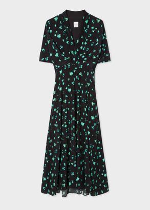 Paul Smith Women's Black 'Screen Bud' Print Chiffon V-Neck Dress