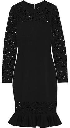 Milly Fluted Laser-cut Stretch-knit Dress