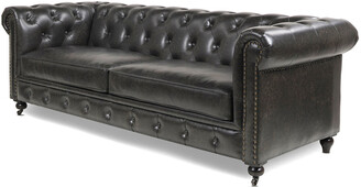 Jennifer Taylor Winston Leather Tufted Chesterfield Sofa