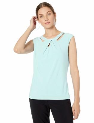 Kasper Women's Cap Sleeve Criss Cross Neck Solid ITY