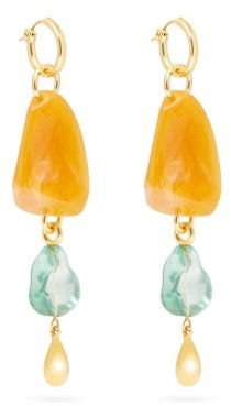 Lizzie Fortunato Waterfall Gold-plated Brass And Acrylic Earrings - Womens - Orange