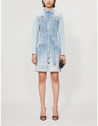 Givenchy Belted ripped denim mini dress