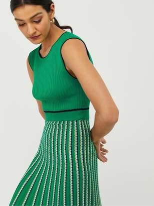 Monsoon Mimi Rib Stripe Dress - Green