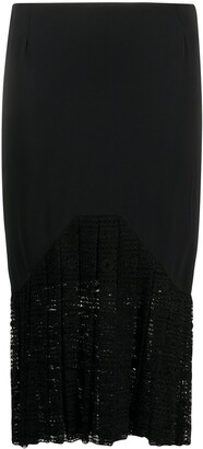 Romeo Gigli Pre Owned 1990s Pleated Lace Pencil Skirt