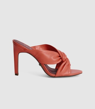 Reiss ELLA LEATHER TWIST FRONT HEELED MULES Coral