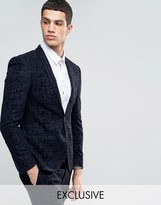 Noak Super Skinny Suit Jacket With Flocking