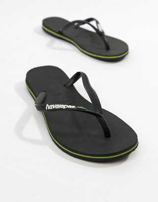 Havaianas Brasil logo flip flops in black