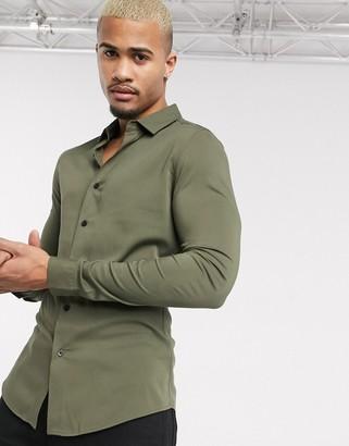ASOS DESIGN muscle viscose shirt in khaki