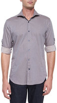 Bogosse Medallion-Print Woven Sport Shirt, Brown Pattern