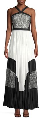 BCBGMAXAZRIA Colorblock Lace & Pleated Halter Maxi Dress