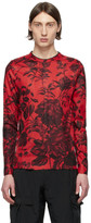 Givenchy Red Floral Ribbed Long Sleeve T-Shirt