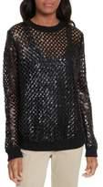 Tory Burch Lansing Sequin Mesh Sweater