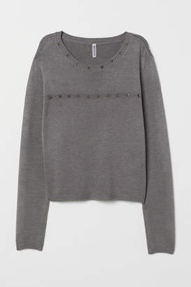 H&M Fine-knit Sweater with Studs