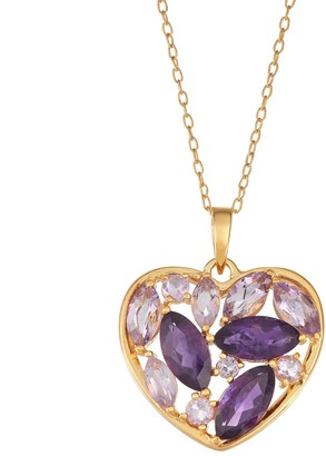 14K Yellow Gold over Sterling Silver Amethyst Heart Pendant Necklace