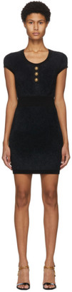 Balmain Black Fluffy Diamond Cap Sleeve Dress