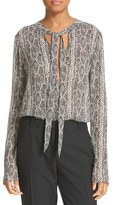 Theory Women's Kimry Snake Print Tie Front Blouse