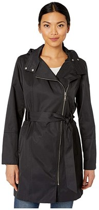 Vince Camuto Asymmetrical Belted Hooded Trench V10739-ZA (Black) Women's Clothing