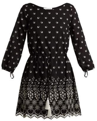 Athena Procopiou - Moonbeams Floral-embroidered Dress - Womens - Black White