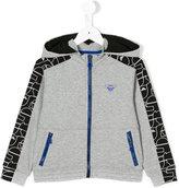Armani Junior logo zip hoodie - kids - Cotton/Spandex/Elastane - 4 yrs
