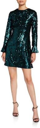 Aidan Mattox Sequin Long-Sleeve Mini Cocktail Dress