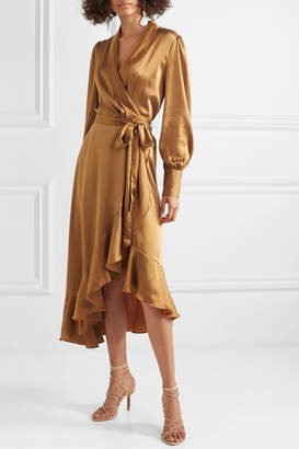 Zimmermann Espionage Asymmetric Ruffled Silk-satin Wrap Dress - Bronze