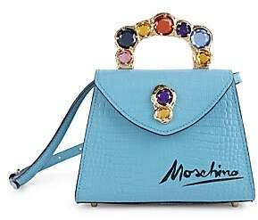 Moschino Women's Jewel-Embellished Croc-Embossed Leather Top Handle Bag