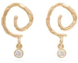 Nadia Shelbaya - Swirl Diamond & Gold Drop Earrings - Womens - Gold