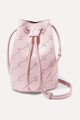 Stella McCartney + Net Sustain Mini Perforated Faux Leather Bucket Bag - Pink