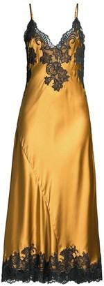 Natori Muse Lace-Trim Silk Maxi Slip Dress