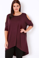 Yours Clothing Burgundy Contrast Bind Top With Cold Shoulder Cut Outs & Extreme Dipped Hem