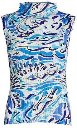 Pleats Please Issey Miyake Playing Print Sleeveless Mockneck Top