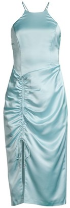 Parker Selena Ruched Satin Sheath Dress