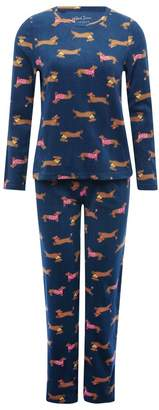 M&Co Sausage dog fleece pyjama set